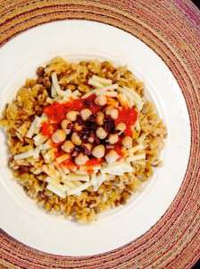 Egyptian koshari. By Maria E. Ortega