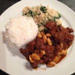 Lamb tagine w/ Kale, Spinach and Garlic-Infused Cous Cous (and rice optional). By Bagheera Paan