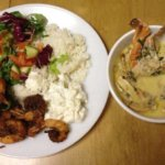 Seafood soup and fried shrimp with rice and potato salad. By Naheed Khanum.