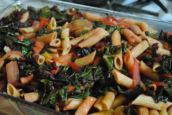 Pink Pasta: Penne with Swiss Chard and Beet Leaves