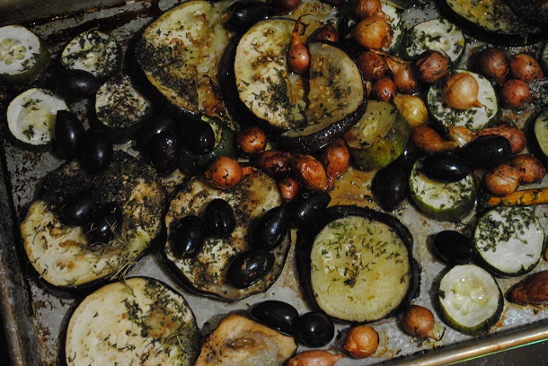 oven roasted eggplants, olives, onions 610