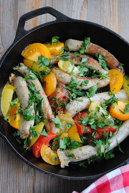 Chicken Sausages with Heirloom Tomatoes