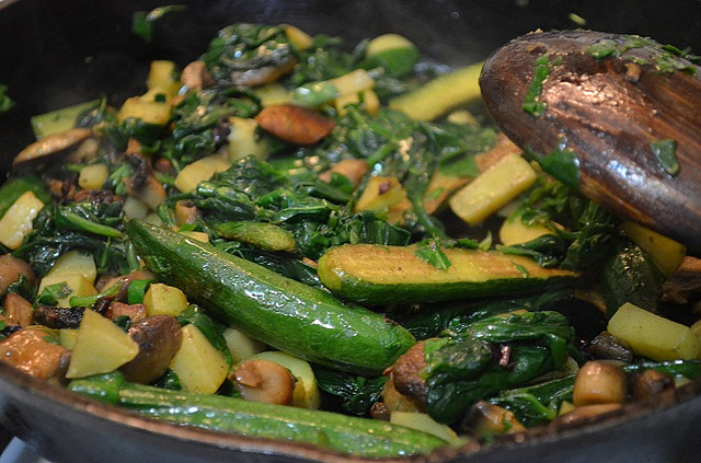 Sautéed Spinach, Baby Zucchini and Mushrooms