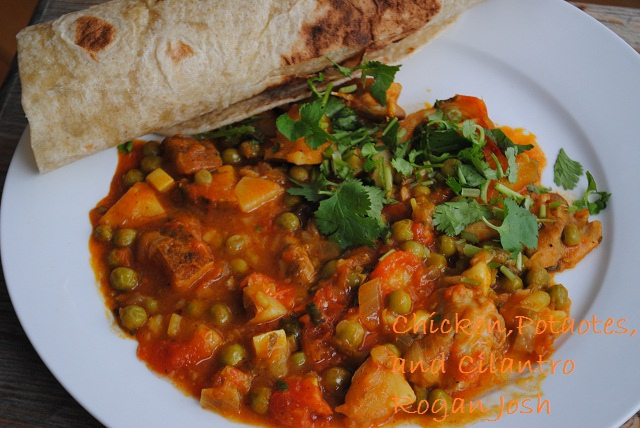Chicken Rogan Josh with Potatoes, Peas and Cilantro