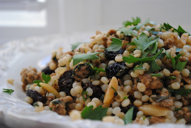 Pearl Couscous with Ground Veal, Almonds and Raisins