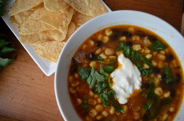 Mexican Black Bean & Corn Soup