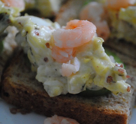 Easy Appetizer: Egg Salad and Baby Shrimp on Toast