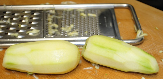 Grating Zucchini for Turkish Zucchini & Walnut Dip