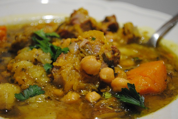 Lamb Stew with Pumpkin, Plantain, Sweet Potato and Chickpeas