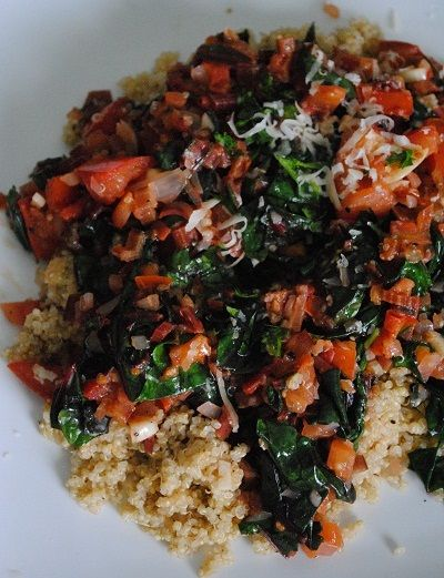 Quinoa with Swiss Chard, Garlic & Tomatoes