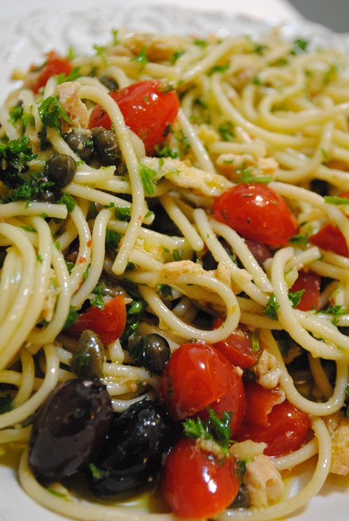 Tuna Pasta with Capers, Olives & Tomatoes