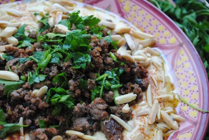 Hummus with Ground Meat & Pine Nuts