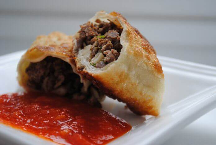 Moroccan Briouates with Ground Lamb, Almonds and Raisins