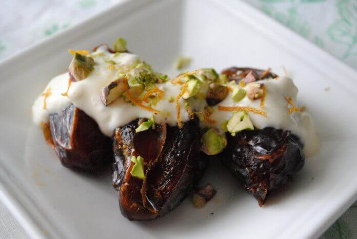 Stuffed Dates with Cream and Pistachios