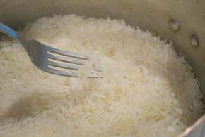 Basmati Rice with a fork