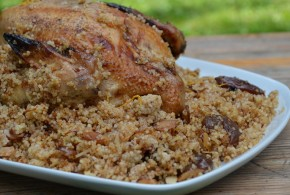 Roast Chicken with Couscous, Prunes, Apricots, Dates & Almonds