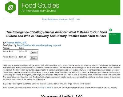 Food Studies Journal: The Emergence of Eating Halal in America by Yvonne Maffei