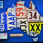 Clever map of Australia made with old car license plates found at The Rocks.