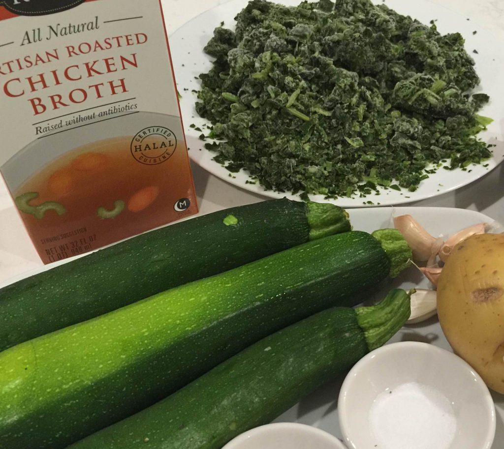 Ingredient set up for zucchini and chicken soup