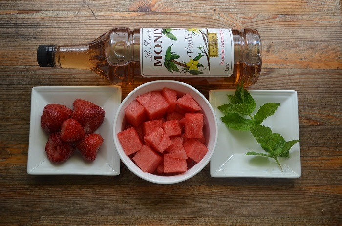 Ingredients for Strawberry, Mint and Watermelon Zipsicles