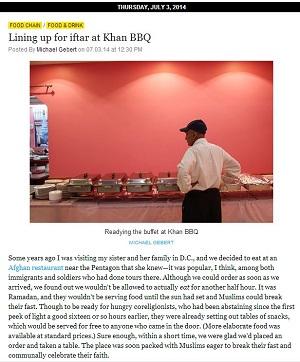 Lining up for iftar at Khan BBQ Reader 070314