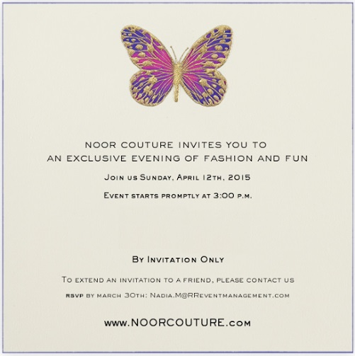 Noor Couture invitation
