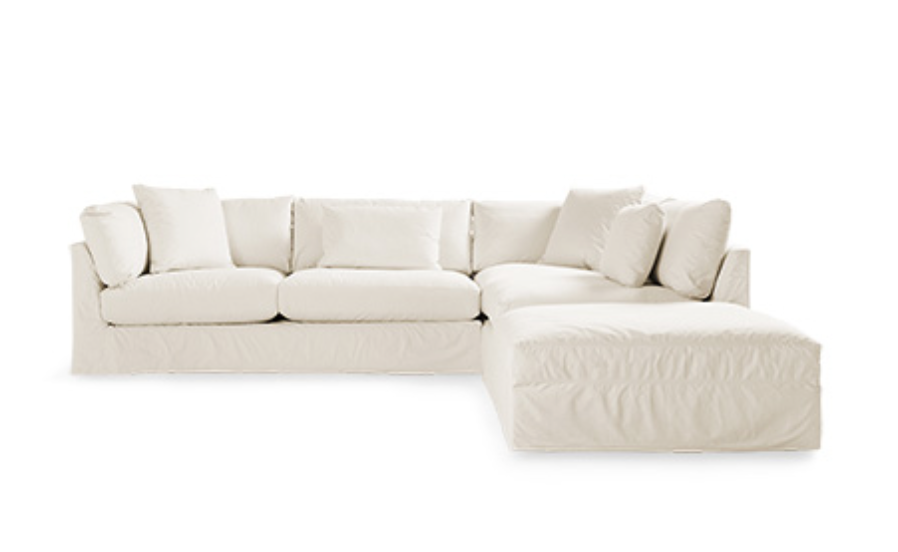 "PAVO 132"" SLIPCOVERED 3 PIECE REVERSE SECTIONAL IN DYNO NATURAL"