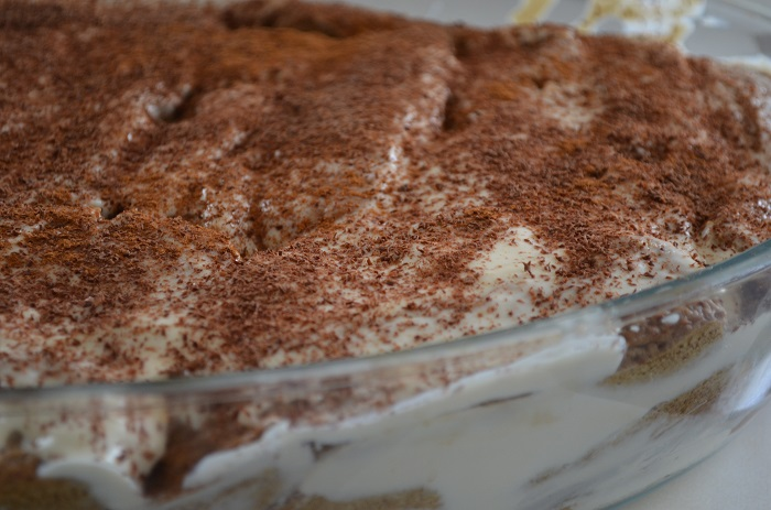 Tiramisu in glass dish
