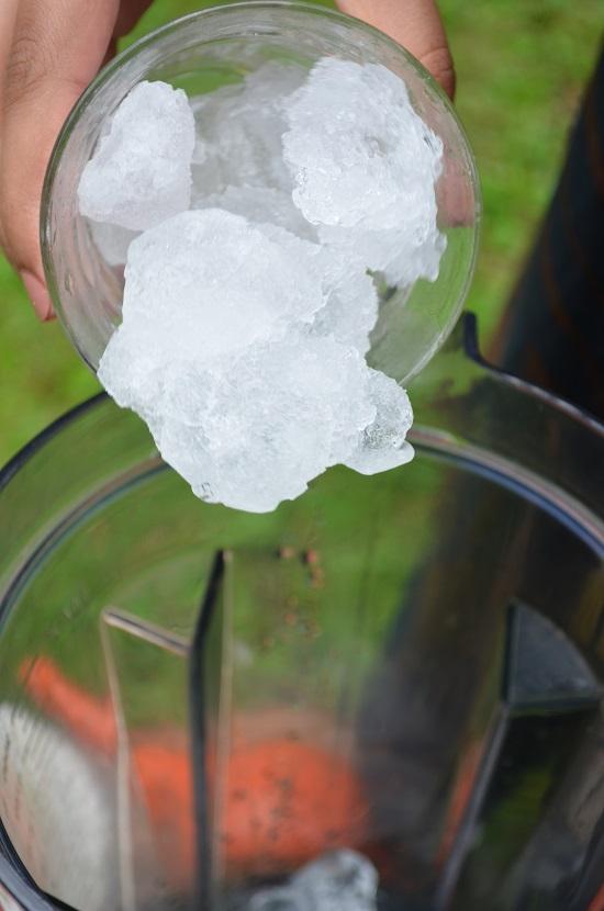 add ice to blender