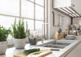 Detailed shot of kitchen area inside a modern loft.
