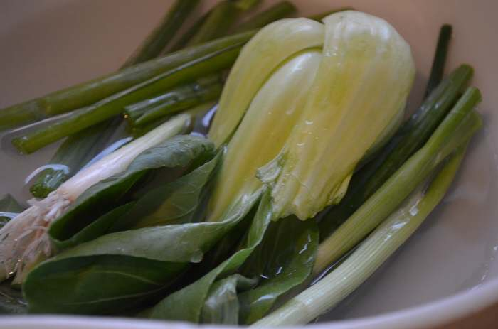 bok choy in cold water