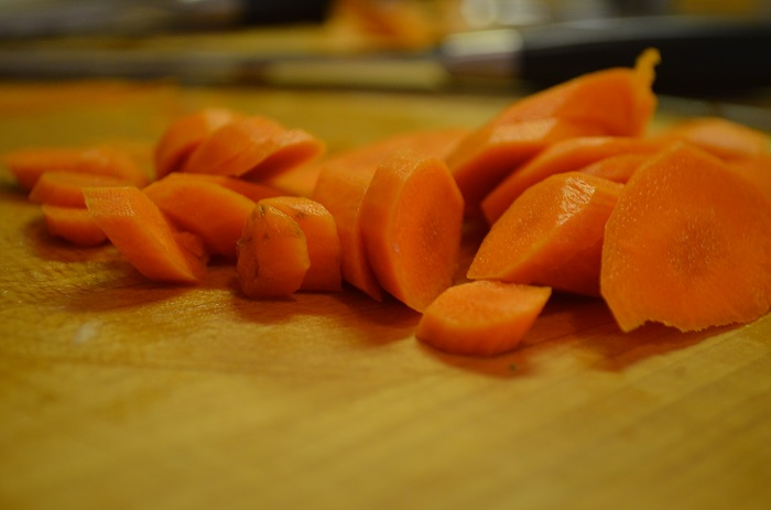 carrots on chopping block