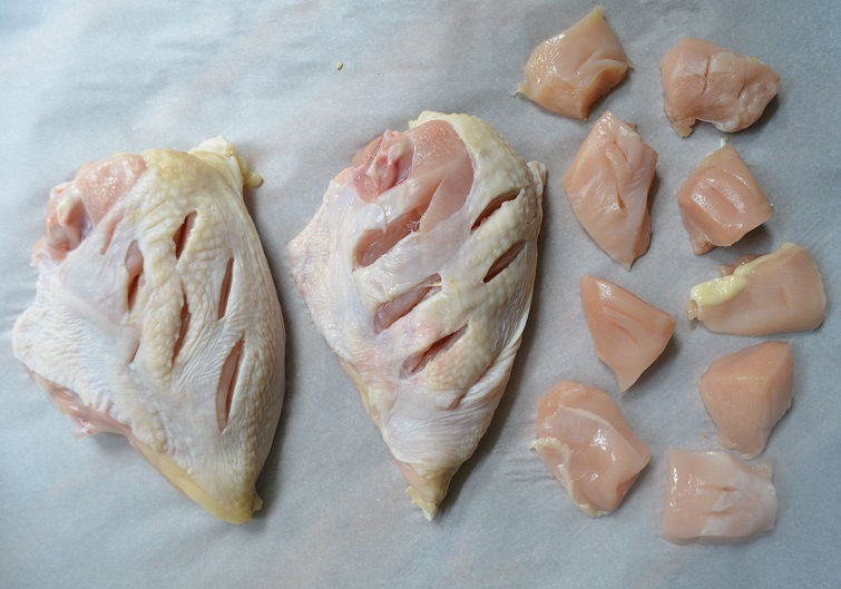 chicken laid out