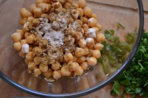 chickpeas and spice in bowl