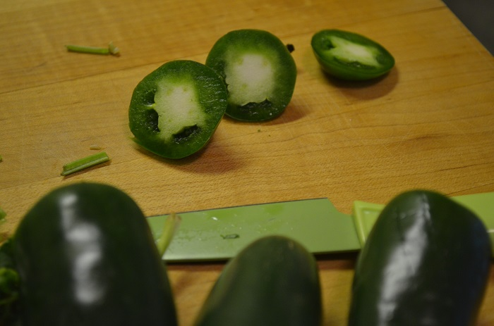 chopping up the jalapeno