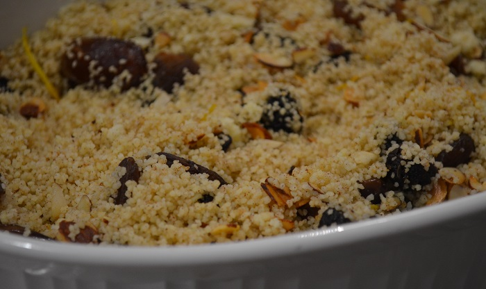 couscous with dates, apricots, plums and citrus zest