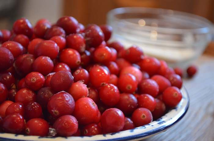 cranberries on plate