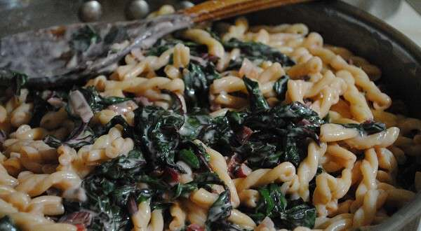 Creamy Fusilli Pasta with Swiss Chard and Chicken