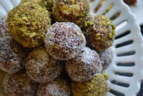 Date Nut Balls Rolled in Coconut or Pistachio | My Halal Kitchen