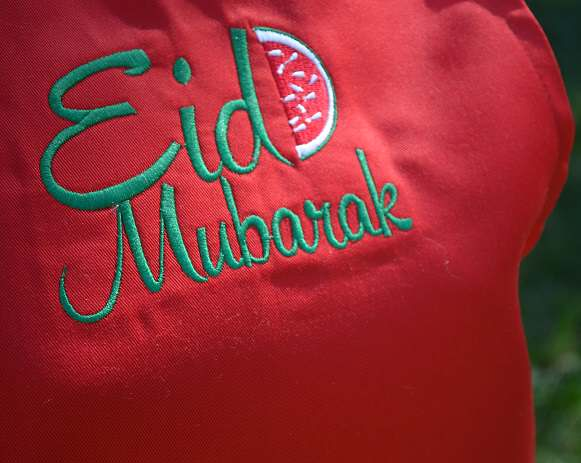 eid apron red