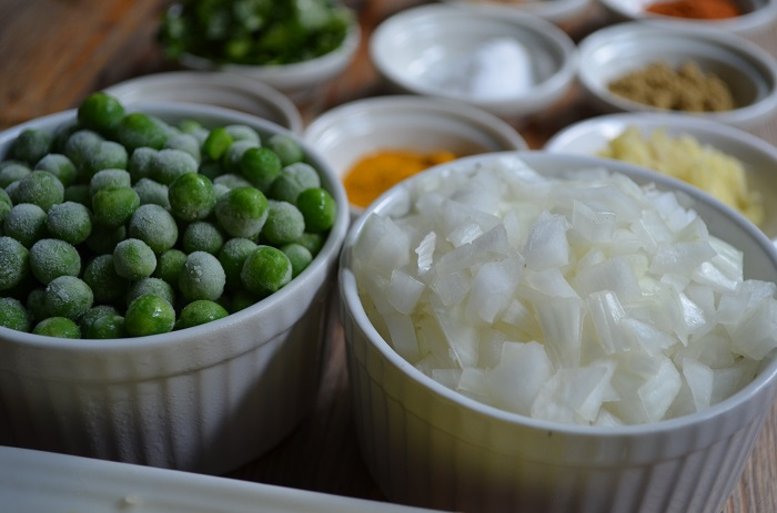 onions and peas
