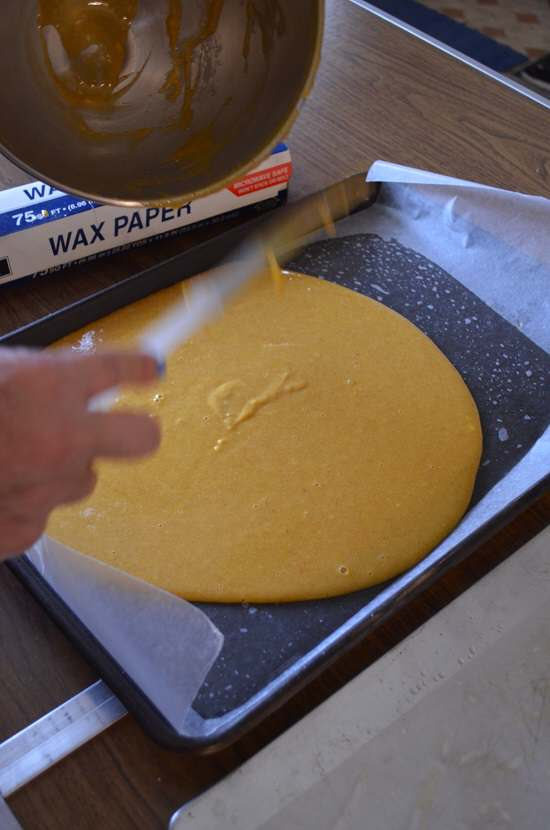 pour batter onto tray