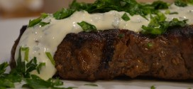 Pan-Grilled Ribeye Steak with Creamy Herb Sauce