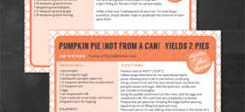Pumpkin Pie Recipe Card Printables
