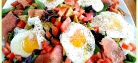 Smoked Salmon and Poached Eggs Over Salad Greens