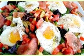 Smoked Salmon and Poached Eggs Over Salad Greens