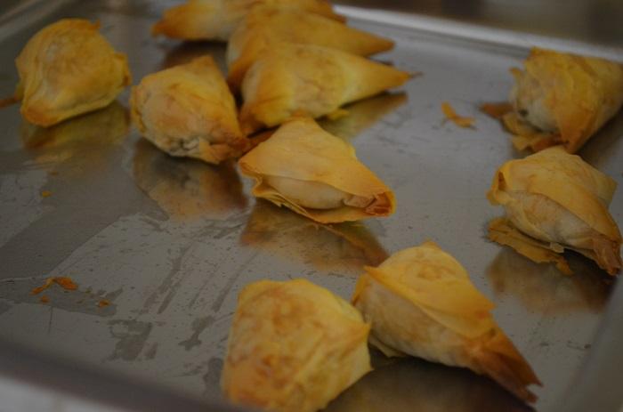samosas baking