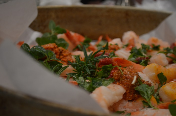 shrimp with fresh garden herbs