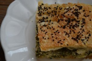 spinach phyllo borek on plate