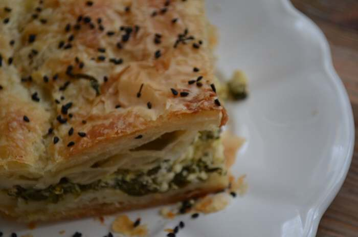 spinach phyllo from the side
